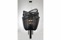9 Light Jewelry Chain and Crystal Hanging Fixture shown in Black Chrome / Smoke Crystal by Avenue Lighting