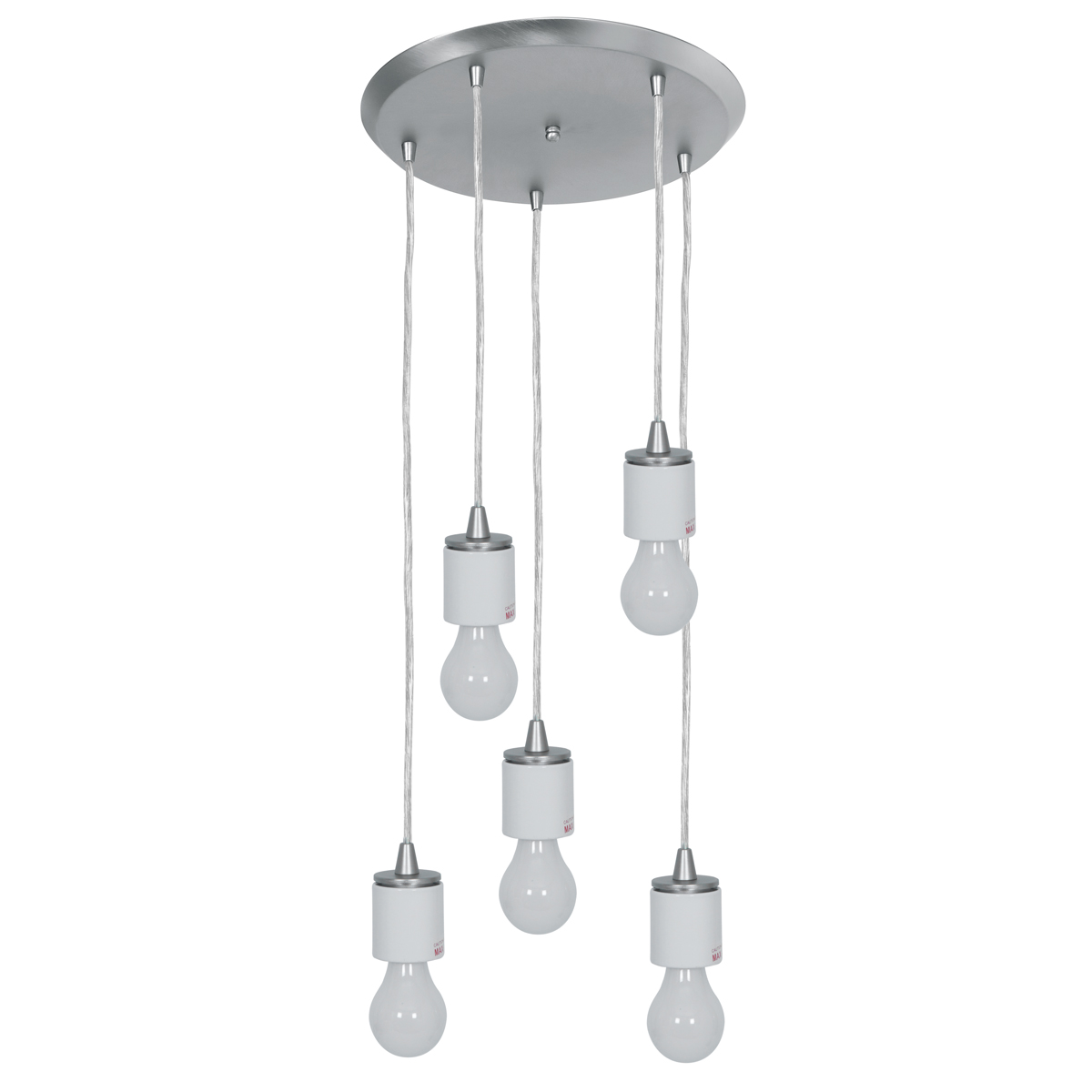 Access Lighting (52232FC) Circ 5-Light 14 Inch Canopy Pendant Assembly shown in Brushed Steel