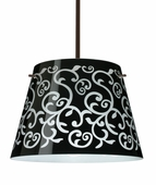 Amelia 15 Pendant shown in Bronze with Black Damask Glass Shade by Besa Lighting