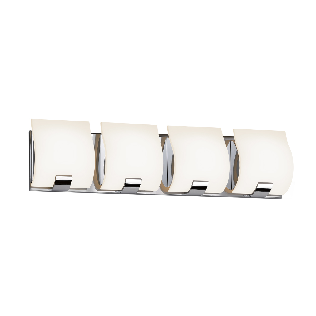 Sonneman Lighting (3884.01) Aquo 4-Light Bath Bar shown in Polished Chrome u0026 White Etched Glass ...