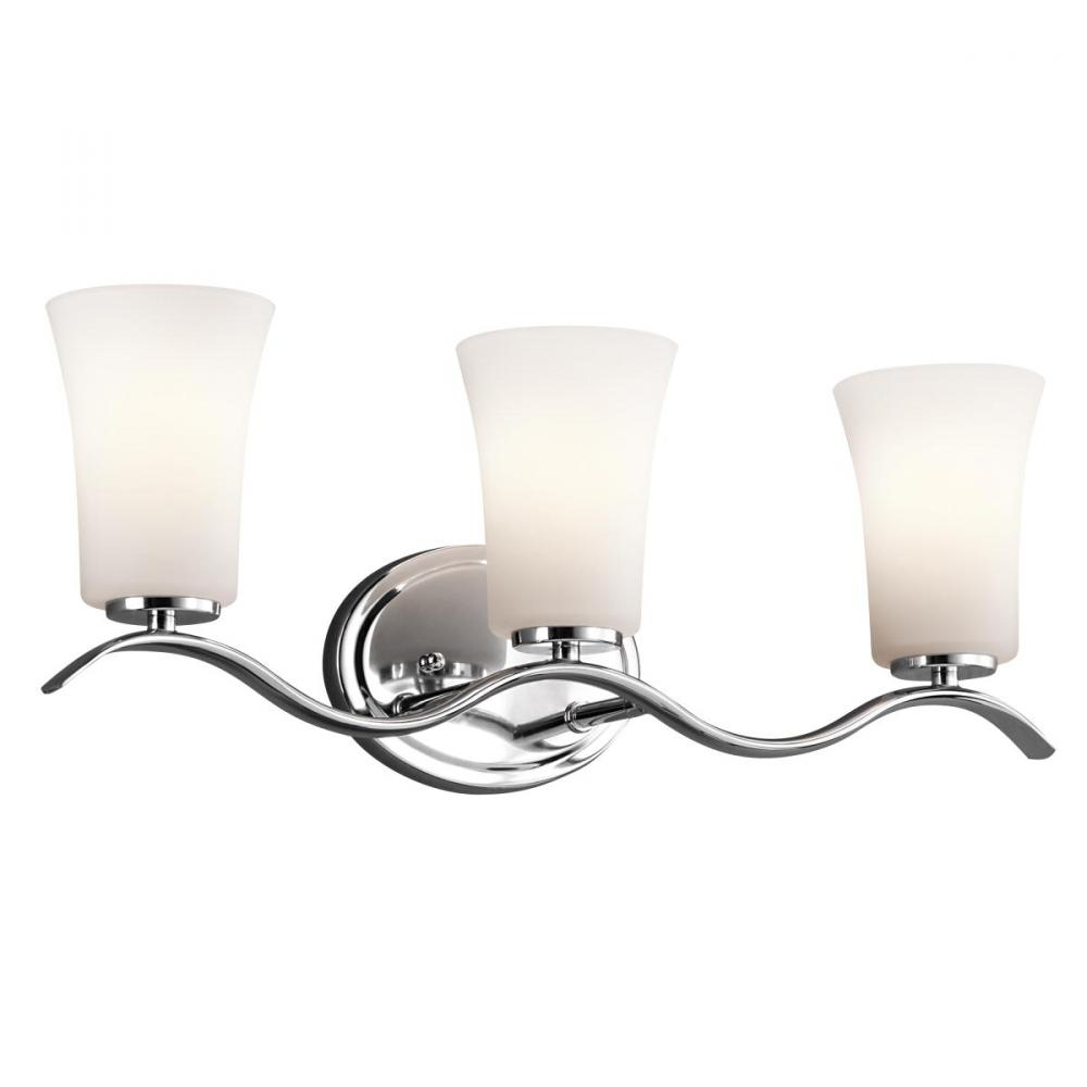 Kichler lighting 45376ch armida 3 light bath fixture in for Bathroom 3 light fixtures