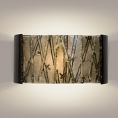 Asia Wall Sconce 1 Light Fixture shown in Black Gloss and Multi Seaweed by A19 Lighting