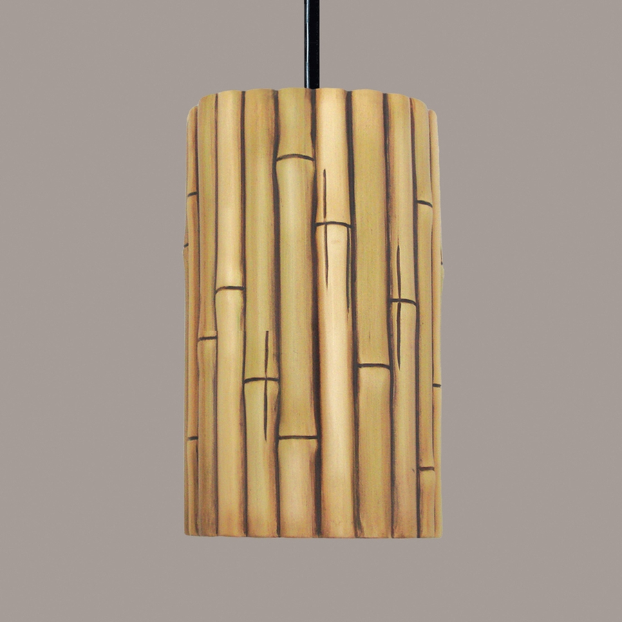Bamboo Pendant 1 Light Fixture shown in Cinnamon by A19 Lighting