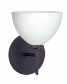 Brella 1 Light Wall Sconce shown in Bronze with White Glass Shade by Besa Lighting