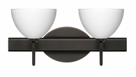 Brella 2 Light Wall Sconce shown in Bronze with White Glass Shade by Besa Lighting