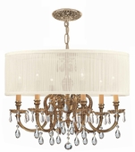 Crystorama (2916-OB-SAW-CLQ) Brentwood 6 Light Drum Shade Brass Chandelier - Spectra
