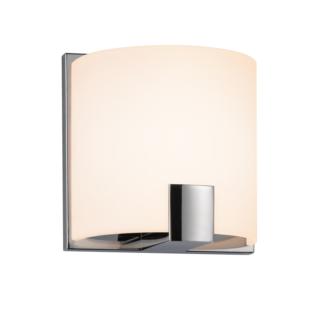 Sonneman Lighting (3891.01) C-Shell 1-Light Sconce shown in Polished Chrome u0026 White Etched Glass ...