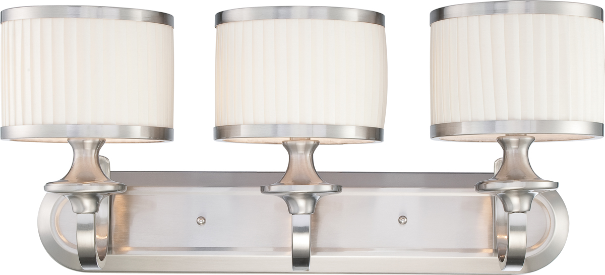 Vanity Light Bulb Shades : Nuvo Lighting (60-4733) Candice 3 Light Vanity Fixture with Pleated White Shades