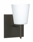 Canto 5 1 Light Wall Sconce Vanity shown in Bronze with Opal Matte Glass Shade by Besa Lighting