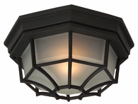 Exteriors by Craftmade (Z389-05) Bulkhead 1 Light Large 10.6 Inch Flush Mount in Matte Black & Frosted Glass
