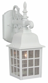Exteriors by Craftmade (Z270-04) Grid Cage 1 Light Medium Wall Mount in Matte White & Clear Seeded Glass