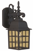 Exteriors by Craftmade (Z270-05) Grid Cage 1 Light Medium Wall Mount in Matte Black & Clear Seeded Glass
