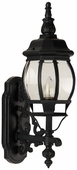 Exteriors by Craftmade (Z320-05) French Style 1 Light Small Wall Mount in Matte Black & Clear Beveled Glass