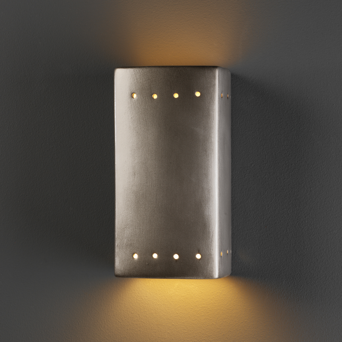 Justice Design (CER-0925W) Small Outdoor Rectangle with Perfs Wall Sconce from the Ambiance ...