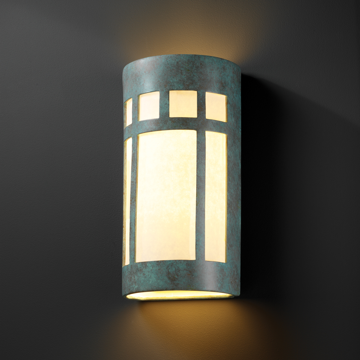 Justice Design Outdoor Wall Sconces : Justice Design (CER-7357W) Really Big Outdoor Prairie Window Wall Sconce from the Ambiance ...