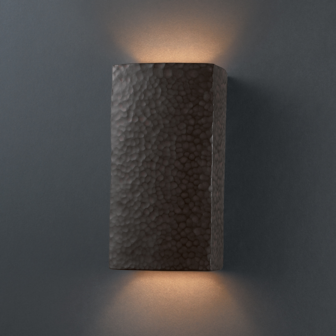 Exterior Ceramic Wall Sconces : Justice Design (CER-0915W) Small Outdoor Rectangle Wall Sconce from the Ambiance Collection