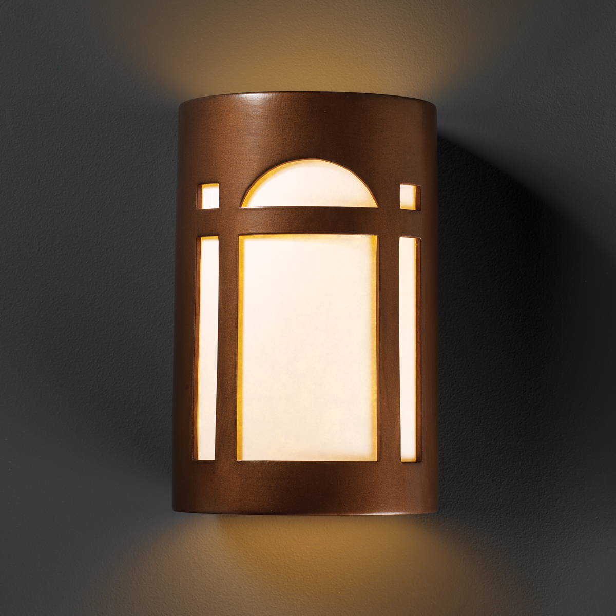 Justice Design Outdoor Wall Sconces : Justice Design (CER-7395W) Large Outdoor Arch Window Wall Sconce from the Ambiance Collection