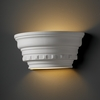 Justice Design (CER-9805) Curved Dentil Molding with Glass Shelf Wall Sconce from the Ambiance Collection