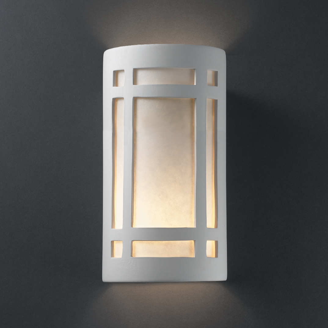 Justice Design Outdoor Wall Sconces : Justice Design (CER-5495) Large ADA Craftsman Window Wall Sconce from the Ambiance Collection