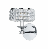 Crystorama (801-CH-CL-MWP) Chelsea 1 Light Chrome Sconce II