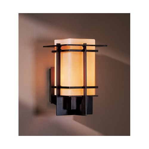CLEARANCE- Hubbardton Forge Alum One Light Outdoor Wall Sconce in Dark Smoke finish with Stone Glass