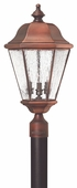 Hinkley Lighting (2261AP) Clifton Beach Large Outdoor Post Light in Antique Copper with Clear Seedy Bound Shade