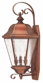 Hinkley Lighting (2268AP) Clifton Beach Large Outdoor Wall Sconce in Antique Copper with Clear Seedy Bound Shade