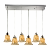 Elk Lighting (31130/6rc-ng) Confections 6 Light Pendant in Satin Nickel Finish
