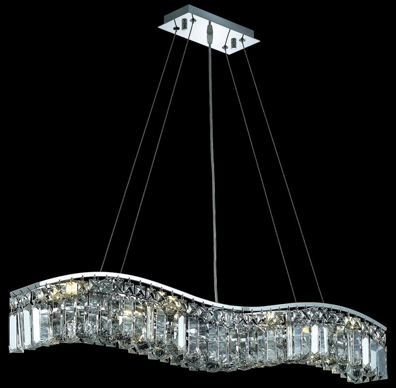 Crystal buffet lamps - Light 36 Inch Dining Room Crystal Fixture Shown In Chrome Finish