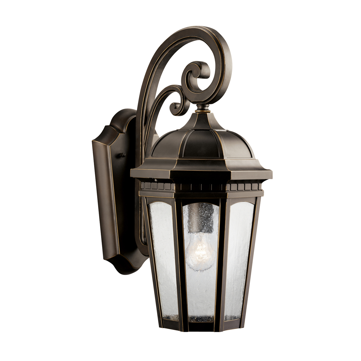 Kichler Exterior Wall Sconces : Kichler Lighting (9033RZ) Courtyard 1-Light Medium Outdoor Wall Sconce in Rubbed Bronze