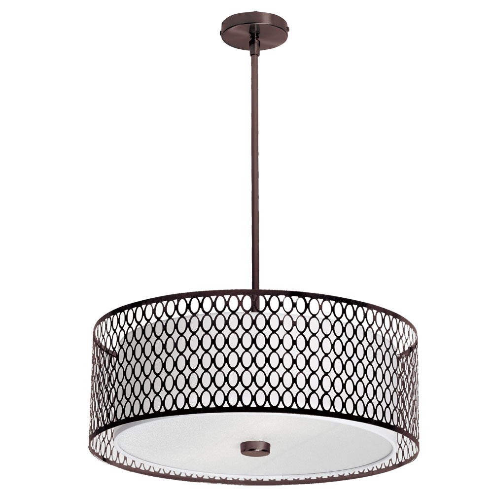 Dainolite Lighting (1015-22P-VOB) 3 Light 22 Inch Pendant in Vintage Oiled Brushed Bronze with ...