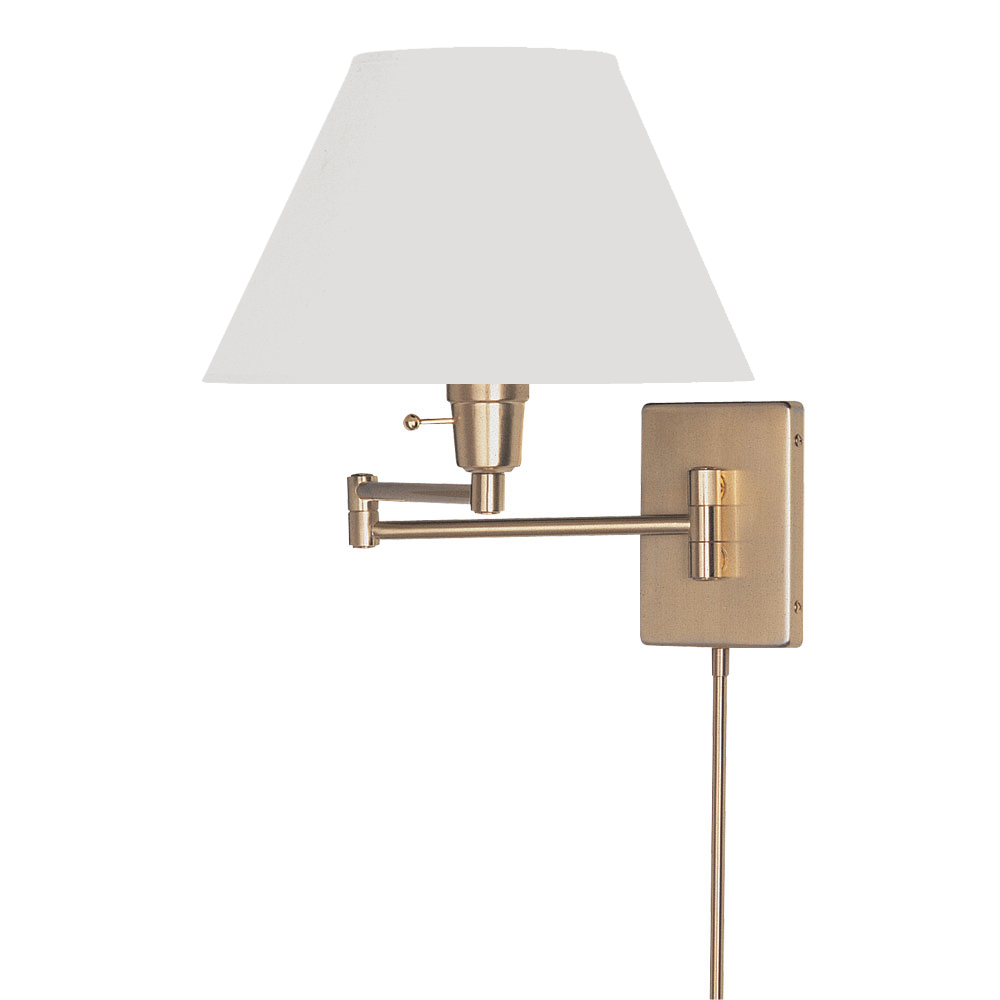 Lamp Shades For Wall Swing Arm : Dainolite Lighting (DMWL800-PB) Swing Arm Wall Lamp in Polished Brass with White Empire Shade