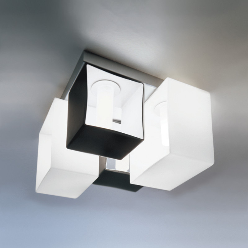 Contemporary Flush Wall Lights : Zaneen Contemporary Domino Flush Mount / Wall Sconce In Metallic Gray Made In Italy - D8-2043