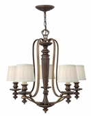 Hinkley Lighting (4595RY) Dunhill 5-Light Chandelier in Royal Bronze with Off-White Pleated Fabric Shade