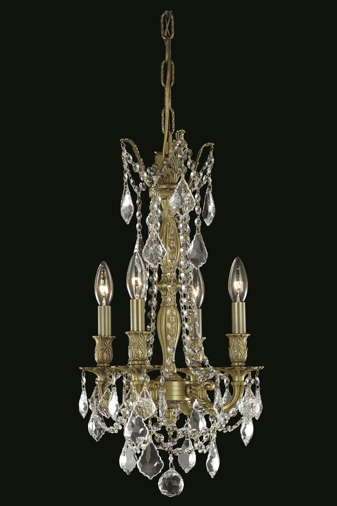 Mini Chandelier String Lights : Elegant Lighting (9204D10) Rosalia 4-Light 10 Inch Mini Crystal Chandelier shown in Antique ...