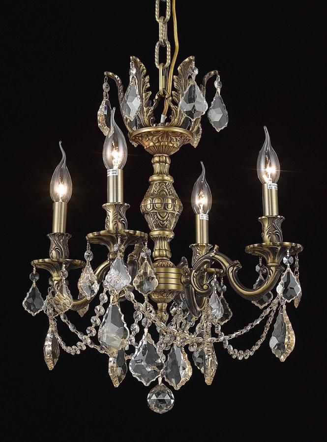 elegant lighting 9504d17 marseille 4light 17 inch mini crystal chandelier shown in antique bronze finish