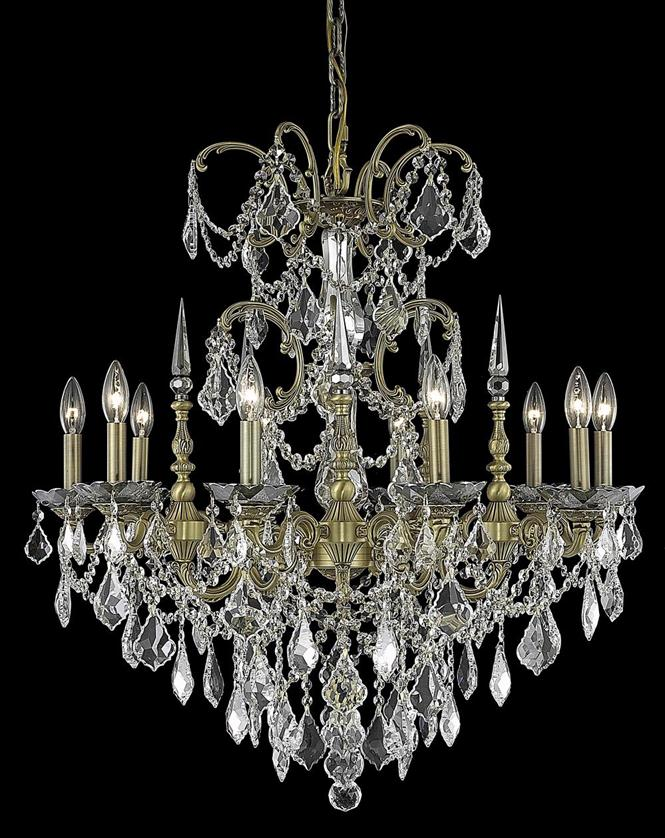 elegant lighting 9710d30 athena 10 light 30 inch dining room crystal chandelier shown in dark bronze finish - Dining Room Crystal Lighting