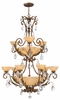 Fredrick Ramond (FR44107FRM) Barcelona 9-Light Foyer Chandelier in French Marble with Tinted Natural Alabaster Shade