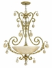 "Fredrick Ramond (FR44103SLF) Barcelona 34"" Foyer Pendant in Silver Leaf with Natural Alabaster Shade"