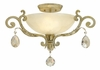 "Fredrick Ramond (FR44104SLF) Barcelona 23.5"" Semi-Flush Mount in Silver Leaf with Natural Alabaster Shade"