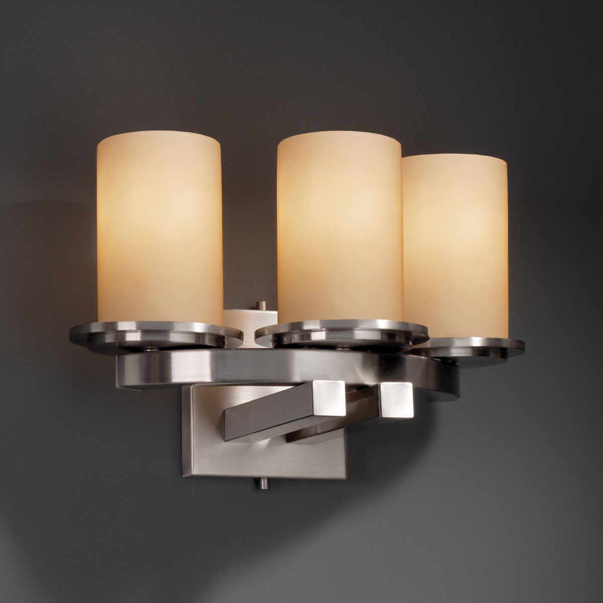 Wall Sconces For Bar : Justice Design (FSN-8776) Dakota 3-Light Curved-Bar Wall Sconce from the Fusion Collection