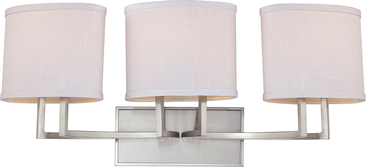 Vanity Light Fabric Shade : Nuvo Lighting (60-4753) Gemini 3 Light Vanity Fixture with Fabric Shade