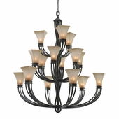Golden Lighting (GLDN-1850-15L) Genesis 3 Tier - 15 Light Chandelier shown in Roan Timber with Evolution Glass