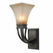 Golden Lighting (GLDN-1850-1W) Genesis 1 Light Wall Sconce shown in Roan Timber with Evolution Glass