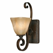 Golden Lighting (GLDN-3890-1W) Meridian 1 Light Wall Sconce shown in Golden Bronze with Sq. Antique Marbled Glass