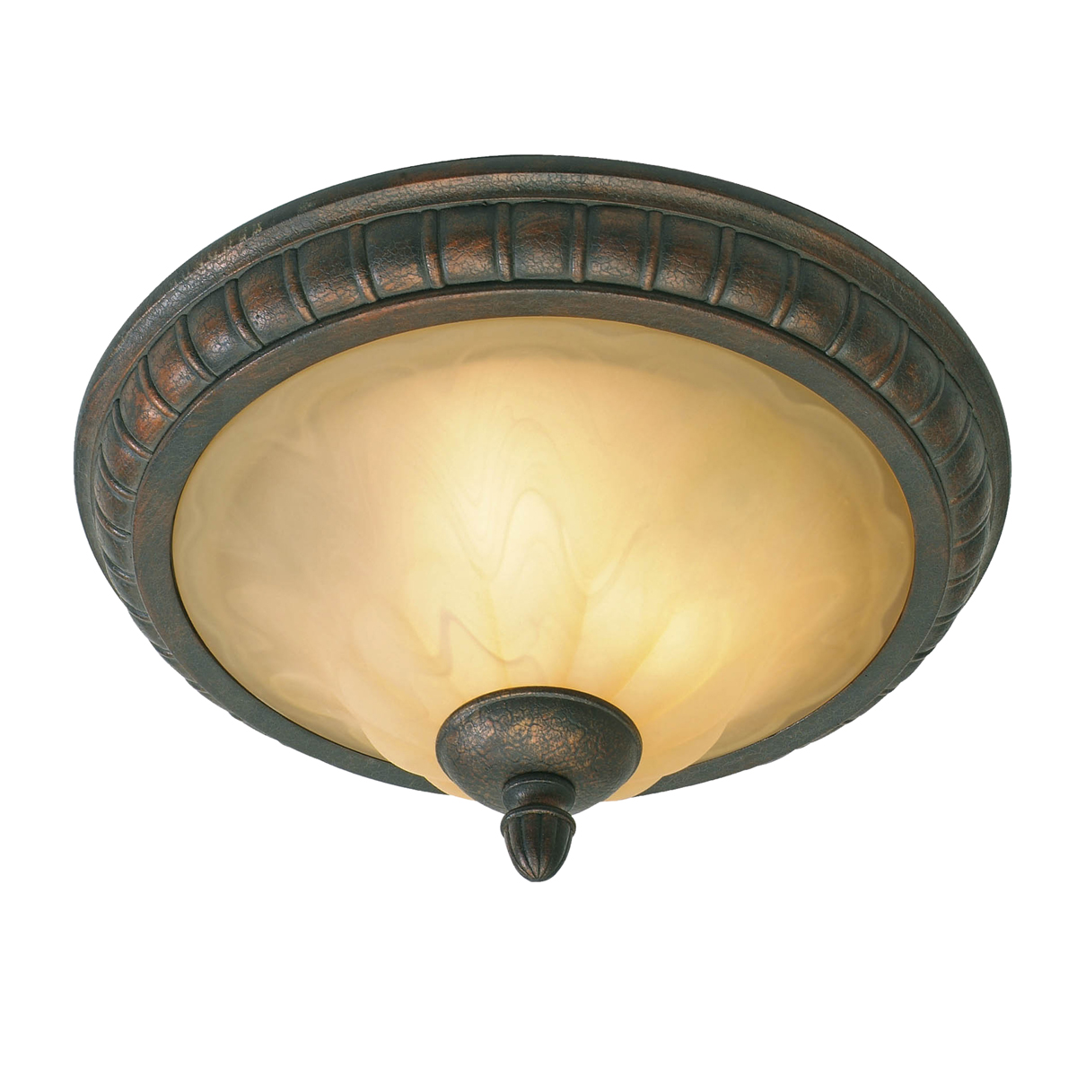 Golden Lighting (GLDN-7116-17) Mayfair Flush Mount shown in Leather Crackle with Crème Brulee Glass