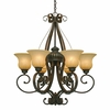 Golden Lighting (GLDN-7116-6) Mayfair 6 Light Chandelier shown in Leather Crackle with Crème Brulee Glass