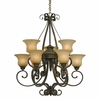 Golden Lighting (GLDN-7116-9) Mayfair 2 Tier - 9 Light Chandelier shown in Leather Crackle with Crème Brulee Glass