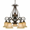 Golden Lighting (GLDN-7116-D5) Mayfair 5 Light Nook Chandelier shown in Leather Crackle with Crème Brulee Glass