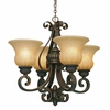 Golden Lighting (GLDN-7116-GM4) Mayfair 4 Light Mini Chandelier shown in Leather Crackle with Crème Brulee Glass